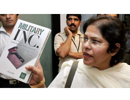 ayesha siddiqa with her book