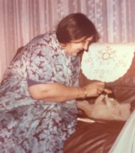 Ammi blue saree and tiggu